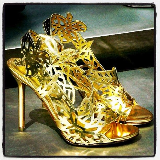 Gold Leather Chloris Sandals by our Neighbour Sergio Rossi - Boulevard de Waterloo 34, #Brussels #Fashion #Shoes