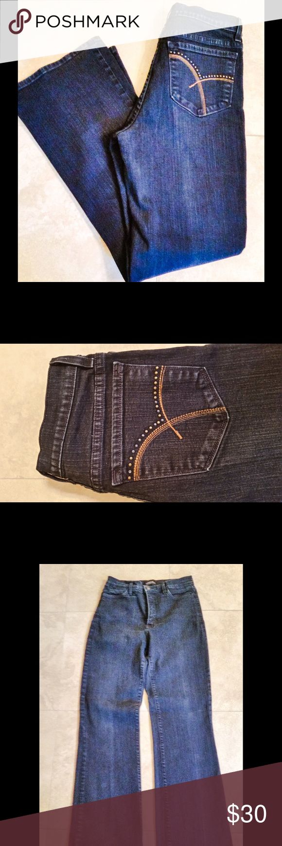 """NYDJ Bootcut Jeans NYDJ boot cut with embellished pocket. Tummy tuck design to make you look one size smaller. Cut# 700G2, Style# 11165B. Inseam is 32"""". Excellent condition! NYDJ Jeans Boot Cut"""