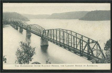 The Hawkesbury river railway bridge, the largest bridge in Australia.