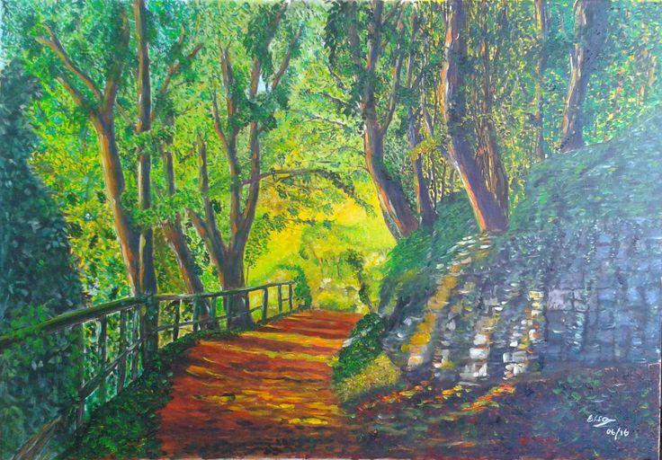 Elsa Contreras Sendero arbolado óleo sobre tela 70 x 50 cms - (pintura original, inspirada en fotografía)