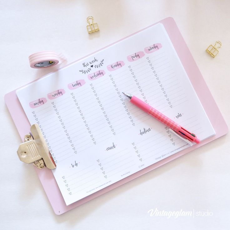 calendario settimanale - FREE printable week at-a-glance planner