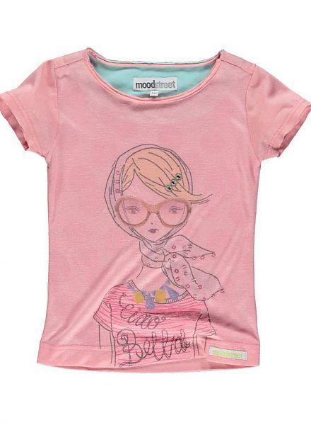 Moodstreet Moodstreet roze shirt met Bella girl