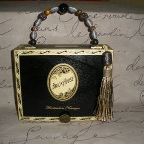 #641 $65 Sexy, black Brick House Cigar Box Purse! Take $20 off of 2 or get free shipping! Sign up for email via my website (just click this image) to get coupon codes!