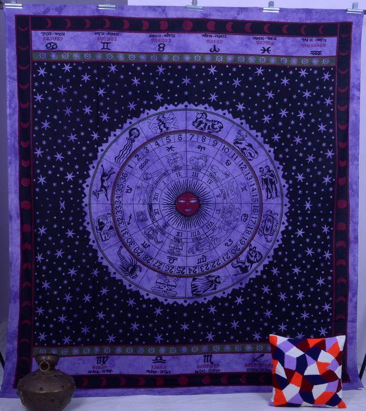 Horoscope Zodiac tapestry Indian Astrology wall hanging Purple bedspread Hippie #Handmade #BedspreadBedsheetWallHanging