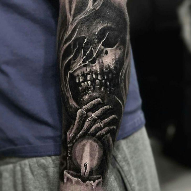 Start to my creepy sleeve by Danny Lepore at Bullseye Tattoo in Staten Island, NY