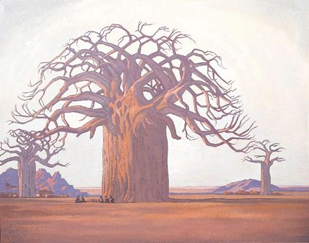 JH Pierneef: The Baobab Tree. This painting holds the record for the most expensive South African painting ever sold at R 11.8 million