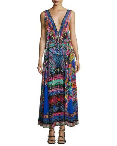 TVKRY Camilla Long V-Neck Drawstring Silk Dress, Blue-Multi