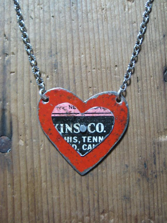Vintage Reclaimed Upcycled Tin Heart Necklace by hoitytoitydesigns, $24.00
