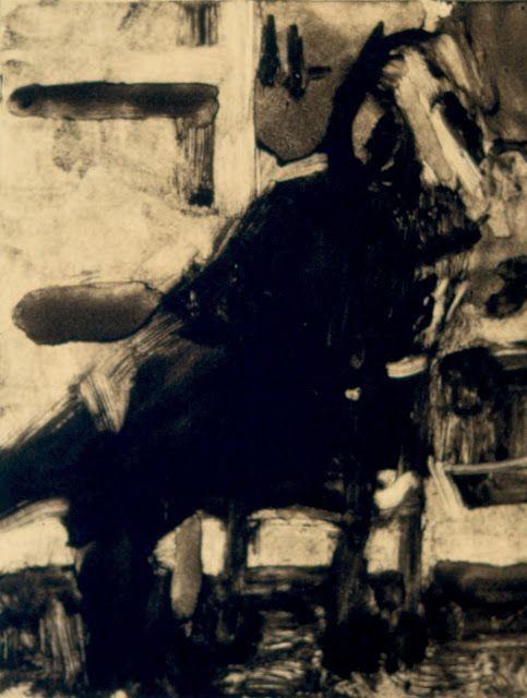 """Frank Hobbs, """"Figure Study,"""" monotype, 11 x 9 in."""