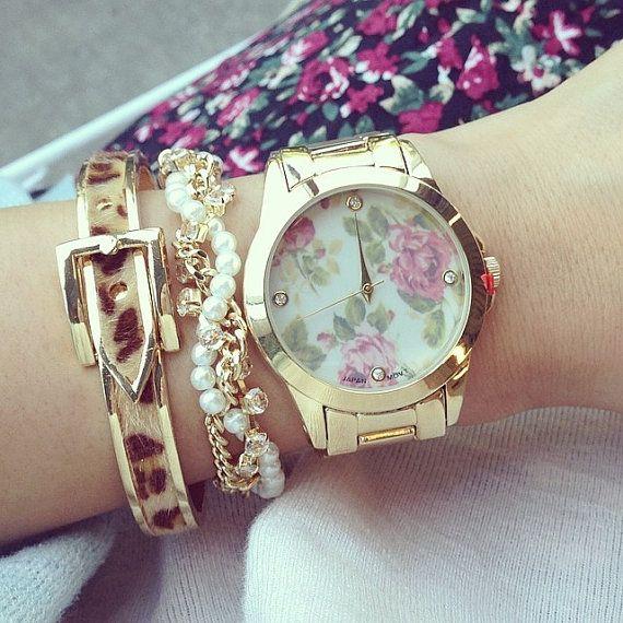 Gold floral design bracelet watch, stainless steel womans watch,fancy womans watch,wrist watch,gold watch,gold plated bracelet