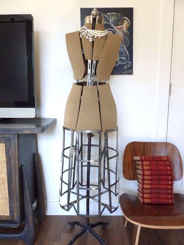 ANTIQUE Dress Form 1909 Cast Iron Stand Adjustable Mannequin 1900's Cage  #HallborchertDressFormCo