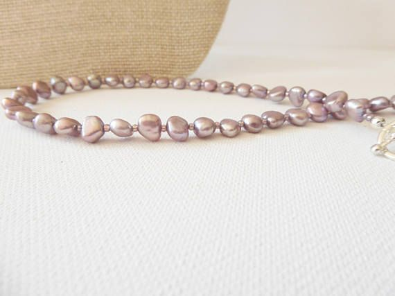 Lavender pearls Freshwater cultured pearl necklace Pearl