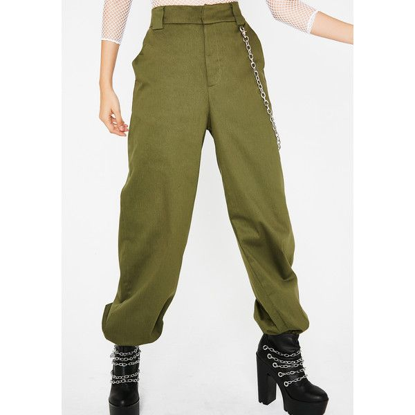 Baggy Chain Pants (120 RON) ❤ liked on Polyvore featuring pants, olive, baggy pants, military green pants, green camo pants, army green pants and chain pants
