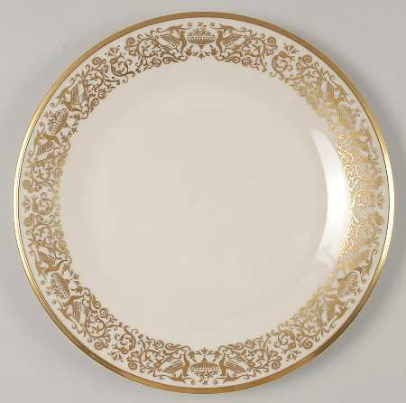 """""""Tuscany"""" china pattern with ornate gold scrolling trim from Lenox."""