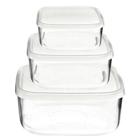Bormioli Rocco Frigoverre 3 Piece Square Glass Food Storage Container Set : Target