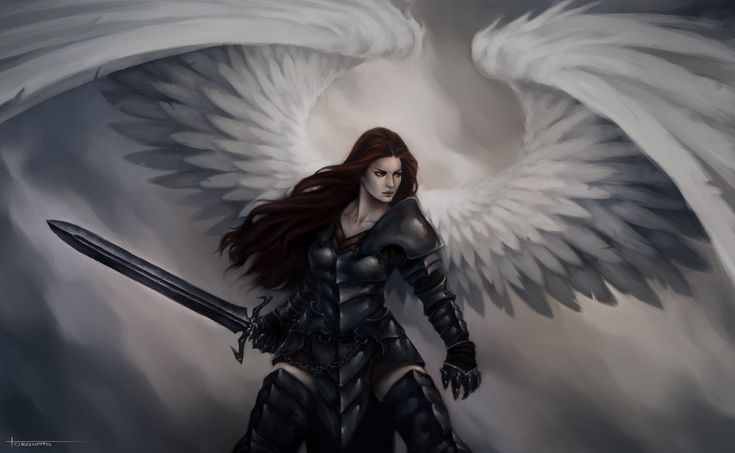 Redheaded angel warrior