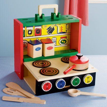 Wooden Portable Pretend Play Kitchen - Folding Kitchen Set 5
