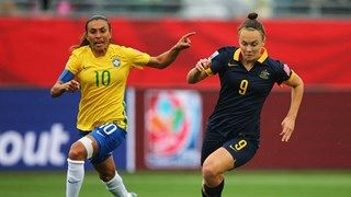 Marta of Brazil chases Caitlin Foord of Australia