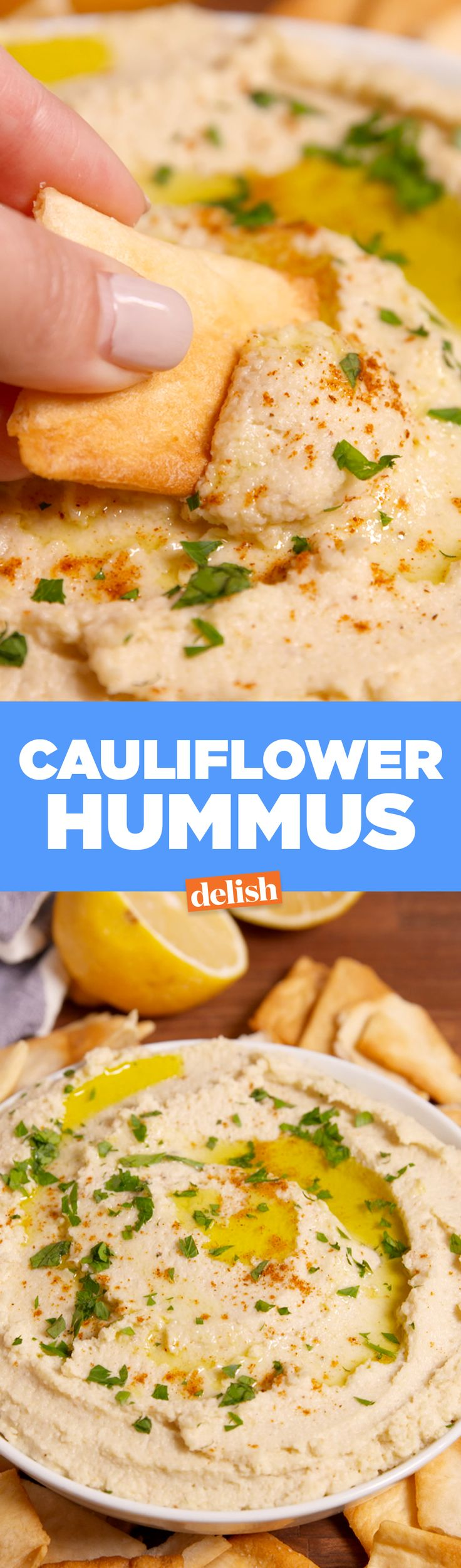 This Cauliflower Hummus is the key to keeping your New Year's resolution. Get the recipe from Delish.com.