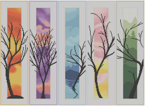Five Trees Counted Cross Stitch Pattern by HornswoggleStore