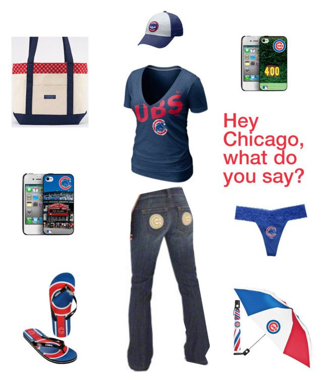 """""""Chicago Cubs Outfit"""" by jbalkin ❤ liked on Polyvore featuring Vineyard Vines, NIKE, tote, chicago, thong, fansedge, jeans, cubs, iphone case and alyssa millano"""