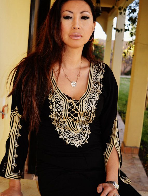 Black with Gold Embroidery Traditional Marrakech Tunic Dress - Perfect as Casual wear, loungewear, resortwear