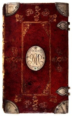 An English binding with silver center plate and monogram, ca. 1690. Folger Shakespeare Library
