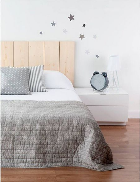 Wood headboard, it could be done with pallets, white nightstand table. Nordic style. get more only on http://freefacebookcovers.net