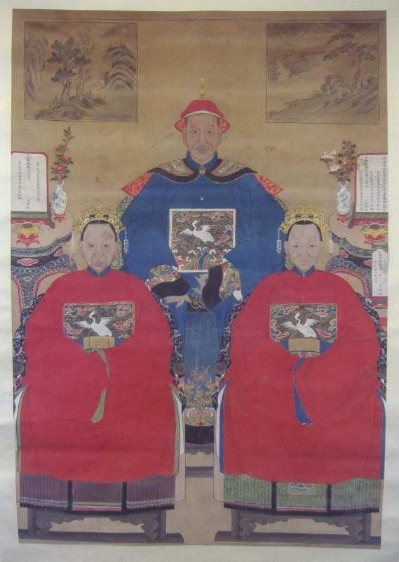 19thc Chinese Ancestor Scroll Painting
