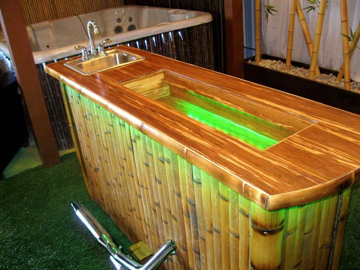 Bamboo Biker Bar Custom Made By Bamboo Innovations. Color Changing Lights  Line The Bar Top Which Is Made Of Marbled Life Proof Flooring®