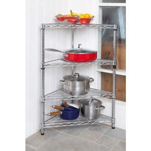 caraselle 3 feet high chromed steel modular corner shelving unit