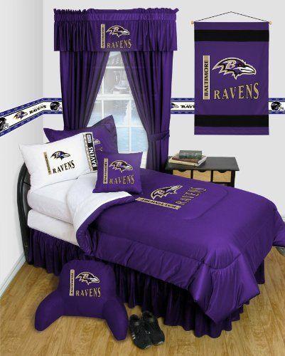 Baltimore Ravens NFL 7 Pc QUEEN Comforter Set   Locker Room Series    (Comforter,