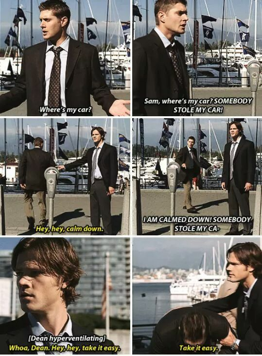 Dean didn't panic when he lost Sammy or Dad, but he had a panic attack when Bela stole Baby! 😂  3.06 Red Sky at Morning