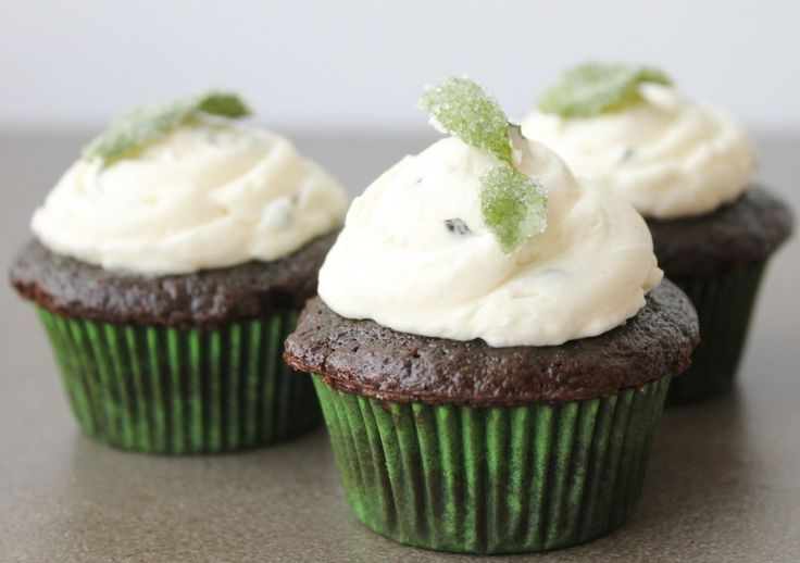 Chocolate Mint Cupcakes with Fresh Mint Buttercream