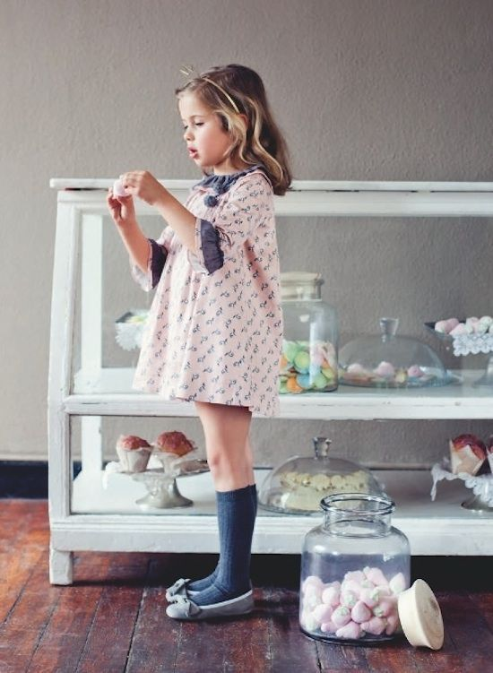 Pink dress white stockings for kids
