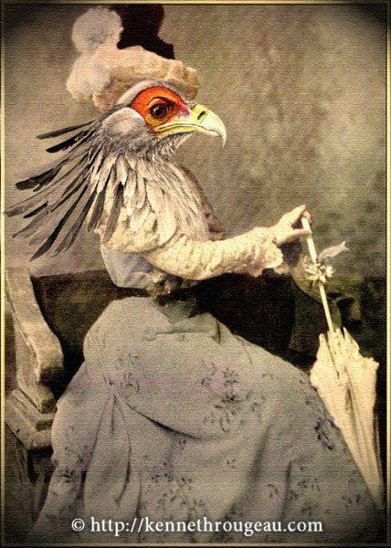 Miss Secretary - 11x14 Fantasy Animal Fine Art Digital Collage Print. $15.00, via Etsy.