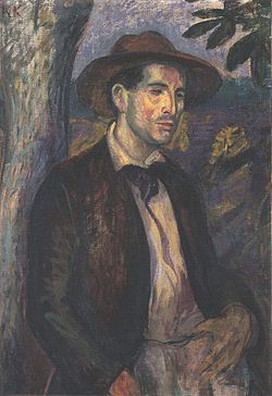 "Kernstok Károly portrait of Czóbel Béla in a straw hat. Both were members of a group of avant - garde Hungarian painters known as ""The Eight"" who had studied in Munich and Paris and bought the ""news trends"" such as cubism back to Hungary in the first decade of the 20th C."