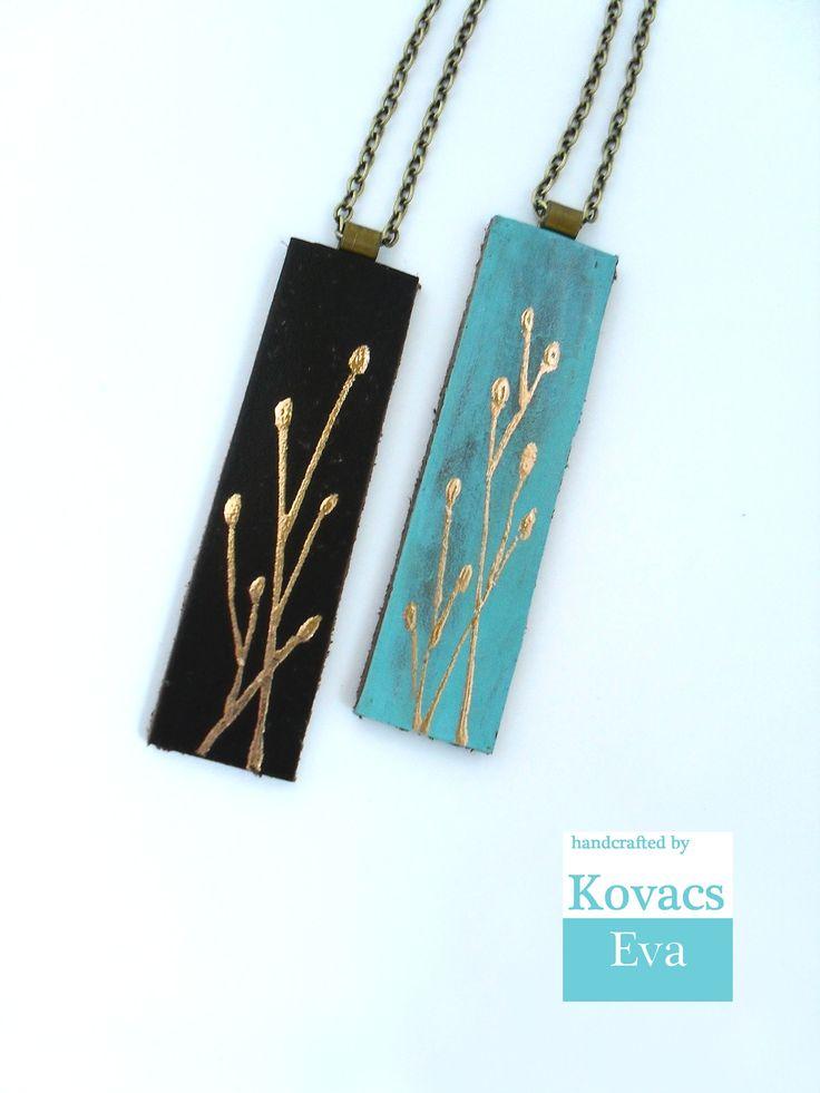 Kézzel festett barna és türkiz bőr nyakláncok. Hand painted brown and turquoise leather necklaces.