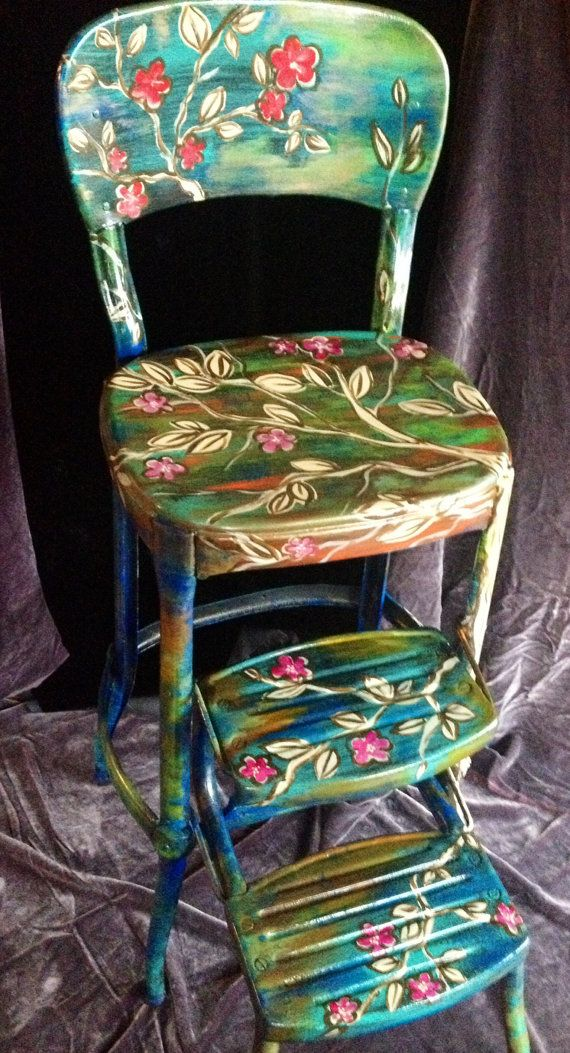 ~~OMG! This is GORGEOUS!~~Vintage metal step stool, step chair, folding step stool, kitchen stool, mid century, retro stool, one of a kind, blossom, cherry blossomy