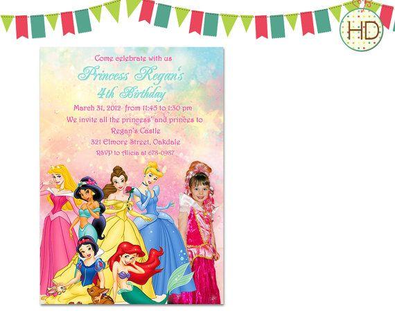 Disney Princess Invitation with Photo, Princess Invitation, Princess Birthday Party, Photo Birthday Invitation, Princess Photo Invitation on Etsy, $16.00