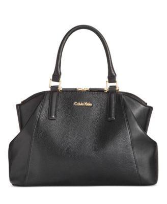 Calvin Klein Pebbled Leather Satchel | macys.com