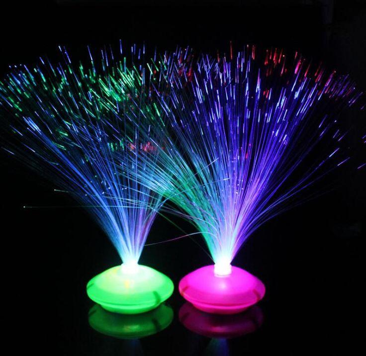 Hermoso Romántico Que Cambia de Color LED de Fibra Óptica Noche de Luz de Lámpara Con Pilas Pequeña Luz Fiesta de Navidad de Decoración Del Hogar