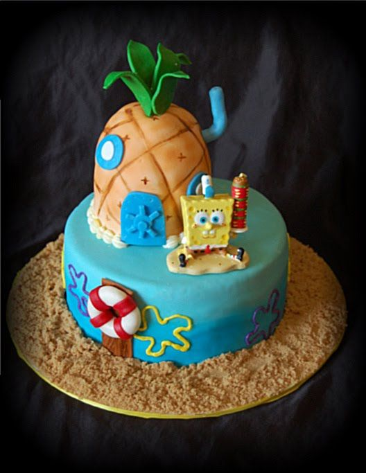 Image detail for -SpongeBob cake I made for my Daughter's 8th Birthday. Pinapple carved ...