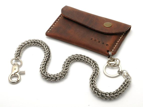 Leather Minimal Slim Wallet with Chain by CloakLeather on Etsy