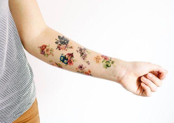 Floral Temporary Tattoo Set  SmashTat Temporary Tattoos