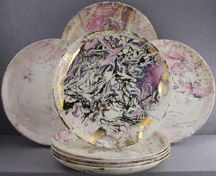Estate dinnerware mid-century 8pc dinner plates sascha brastoff pink surf  ballet
