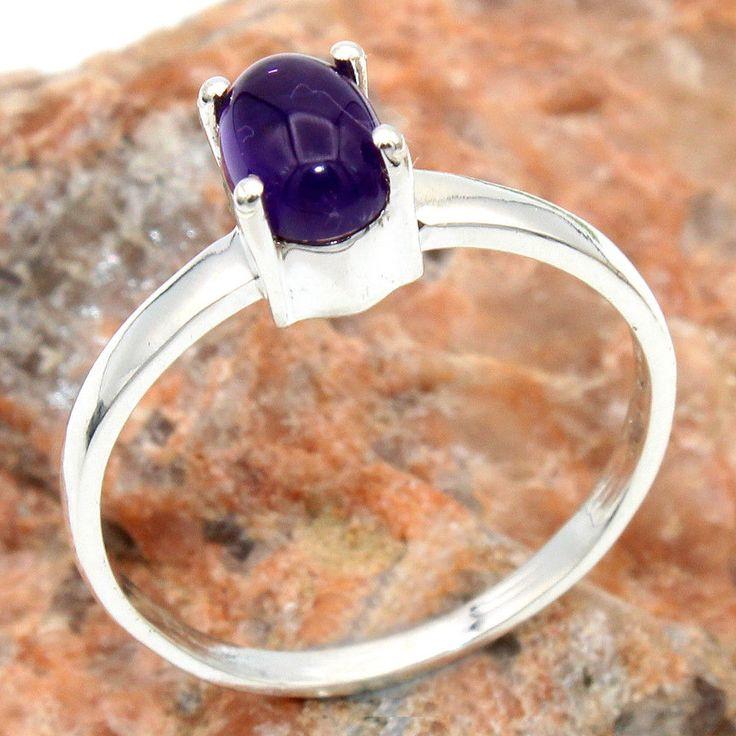 valentine day 925 Sterling Silver Purple Amethyst Gemstone Ring Jewelry us 7.25 #Handmade #Ring #Anniversary