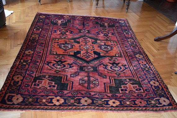 Iranian rug Handwoven  natural dyes  Lori Qasqhai wool on