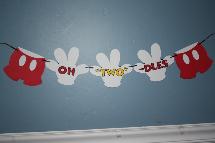 """Mickey Mouse Oh """"TWO"""" Dles banner. $10.00, via Etsy."""