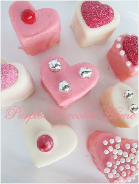 Valentine's Petit Fours 6) Vary the color of your frosting and the type of candy and serve up a platter of beautiful treats.